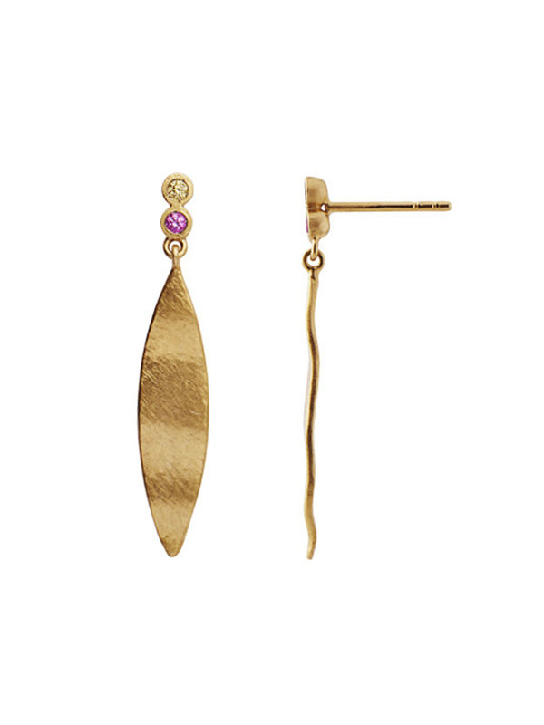 Stine A Dangling Leaf With Two Candy Dots Earring Gold