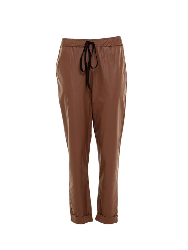 By Sara Collection Emily Fake Leather Pants Brown
