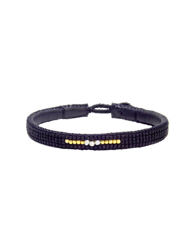 Ibu Jewels Bracelet Stone Line Black