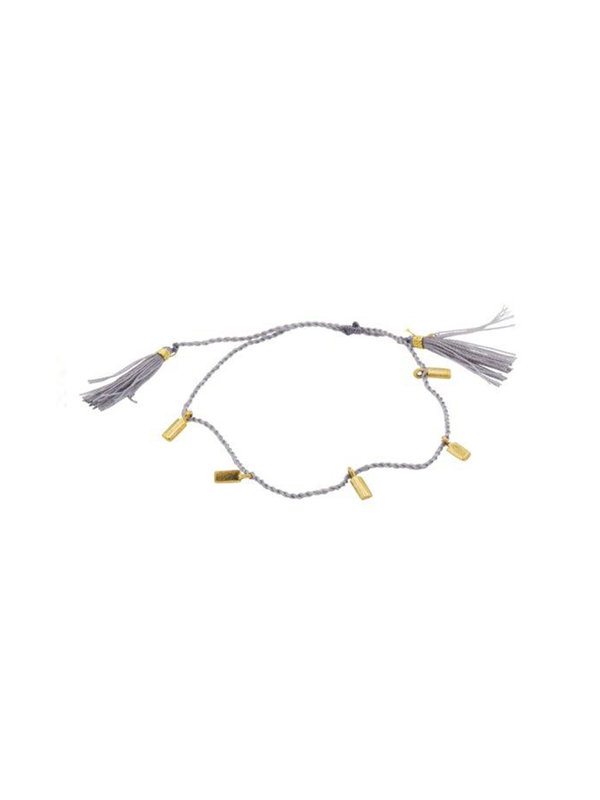 Xzota Bracelet Multi Rectangle Brass String Grey