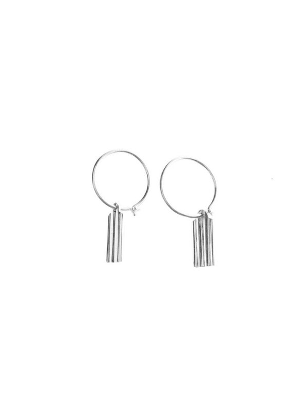 Xzota Earring Silver Rectangle