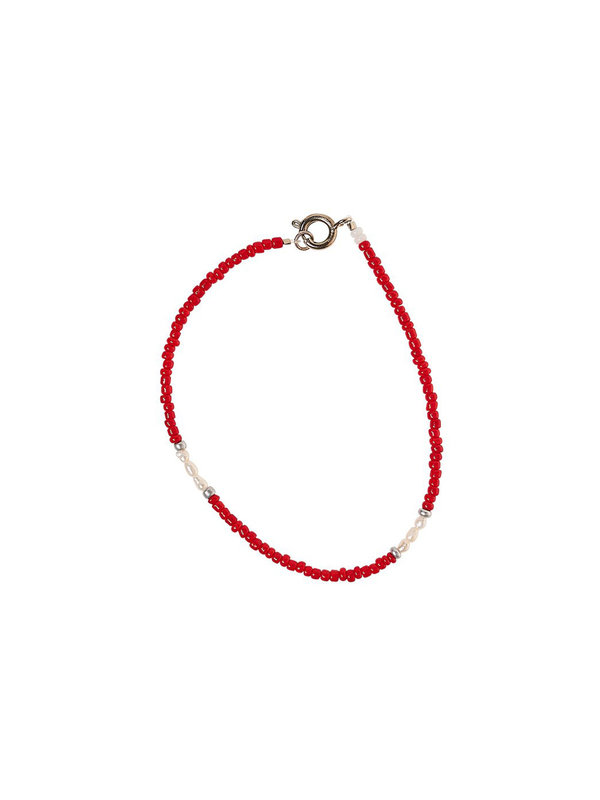 Xzota Bracelet Small Beads Small Pearl Red