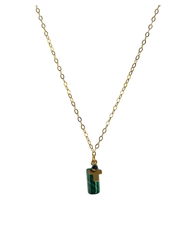 Necklace Cross Spinel Faceted Gold