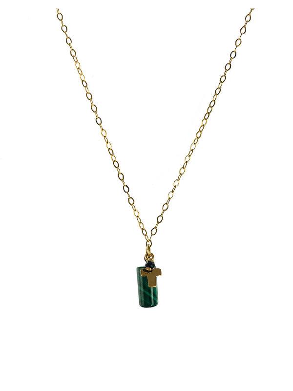 Blinckstar Necklace Cross Spinel Faceted Gold
