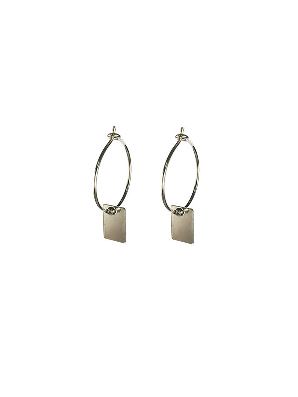 Earring Rectangle Small Hoop Silver