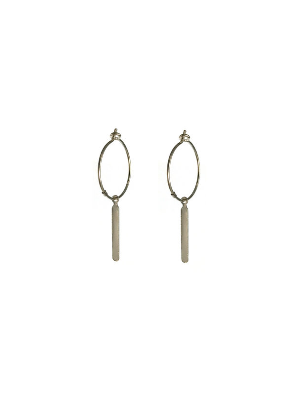 Blinckstar Earring Rectangle Thin Long Hoop Silver