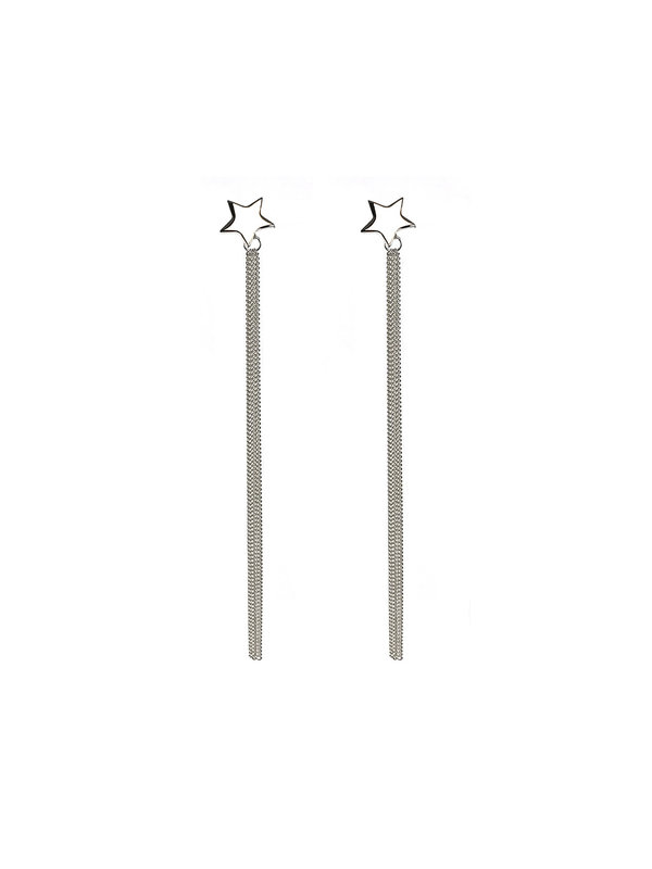 Blinckstar Star Earstud Long Dangling Chain Silver