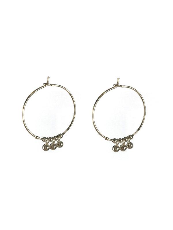 Blinckstar Earring Ball Drop Hoop Silver