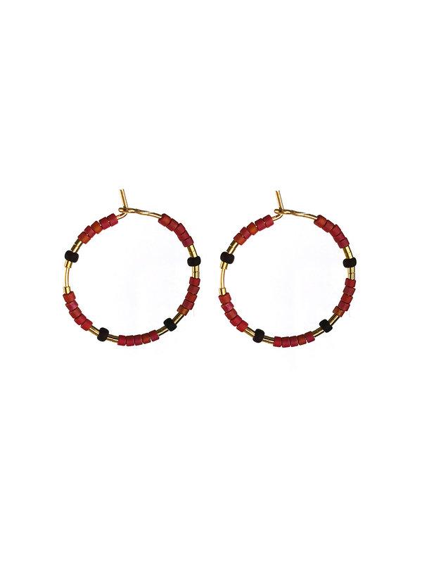 Blinckstar Earring Hook Orange Zirkoon Mini Beads