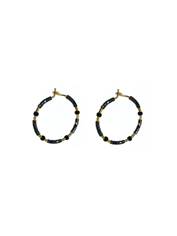 Earring Beaded Metallic And Matte Black Gold