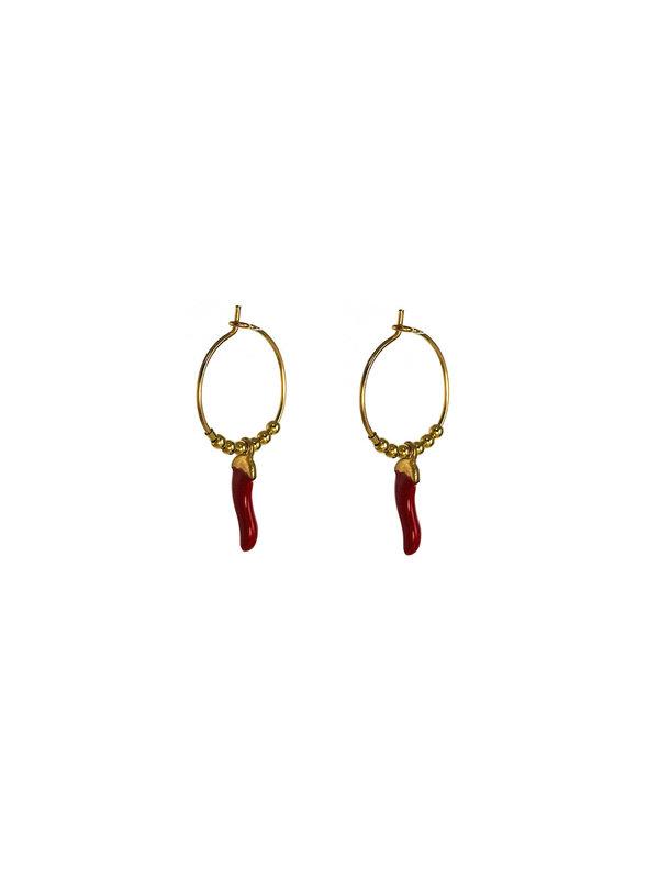 Blinckstar Earring Hoop Red Peper Gold