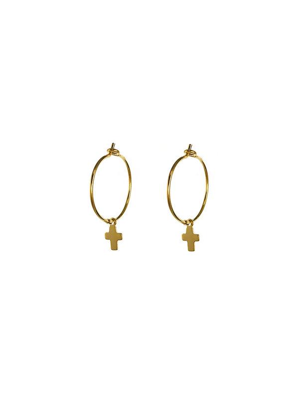Blinckstar Earring Hoop Mini Cross Gold