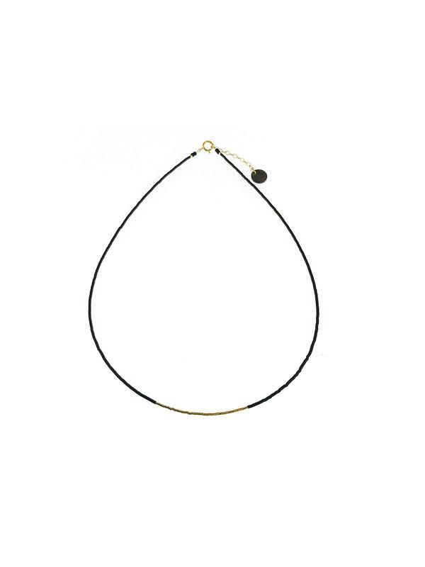 Blinckstar Necklace Matte Black Mini Beads Gold