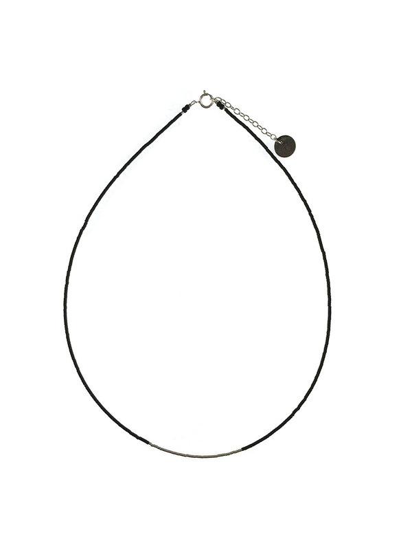 Blinckstar Necklace Matt Black Mini Beads Silver