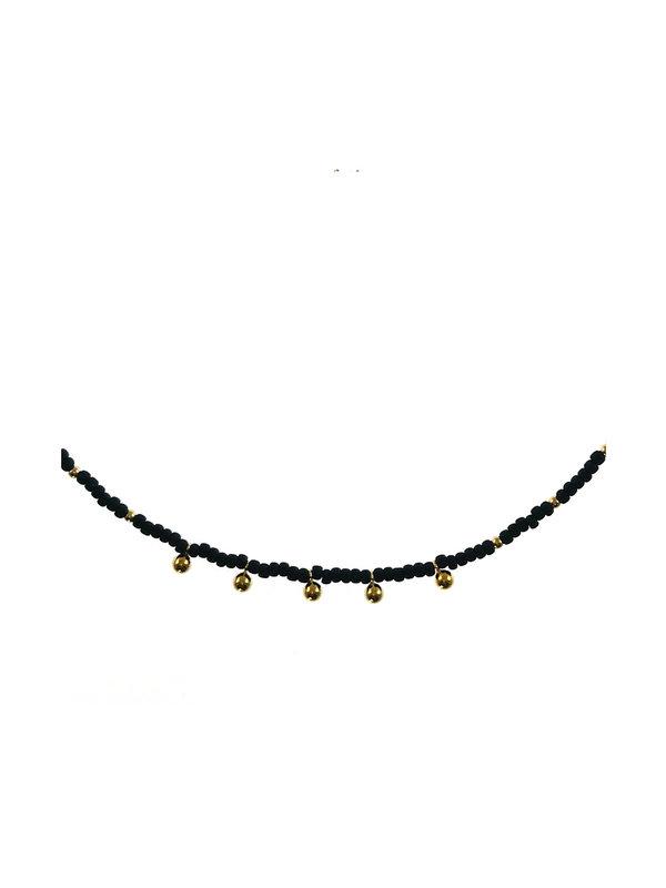 Blinckstar Necklace Matt Black Beats Gold