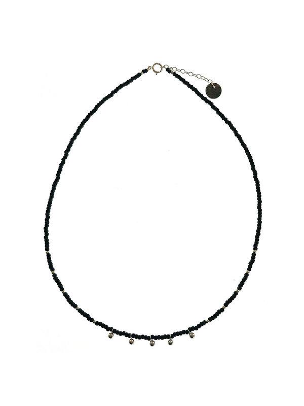 Blinckstar Drops Matt Black Beads Silver