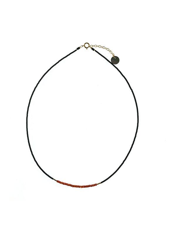 Blinckstar Necklace Orange Zirkon Faceted Rondelis Black Gold