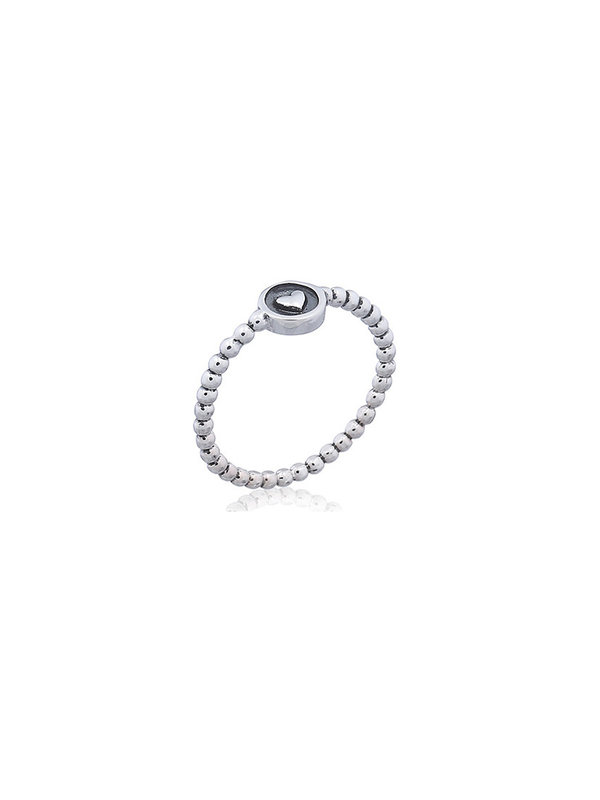 Blinckstar Ring Silver Balls Heart In Circle On Top