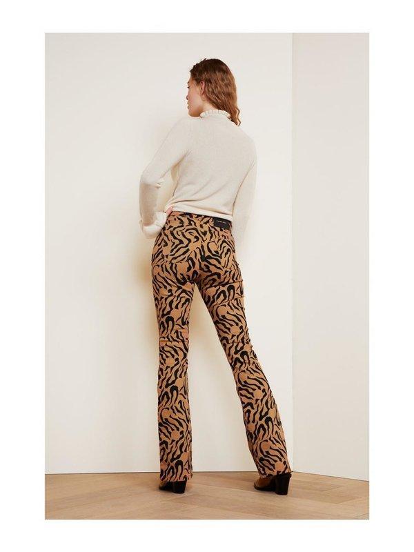 Fabienne Chapot Eva Flare Trouser Toffee Brown/Black Tiger Dot