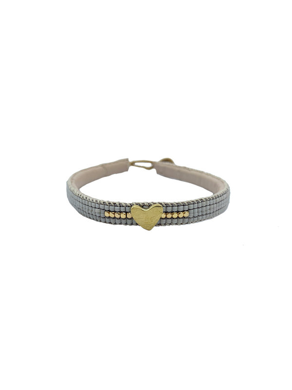 Ibu Jewels Bracelet Heart Soft Grey
