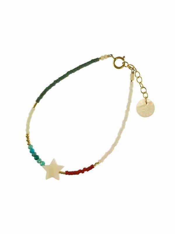 Blinckstar Bracelet White Shell Turquoise Rondells Brick Green White Matt