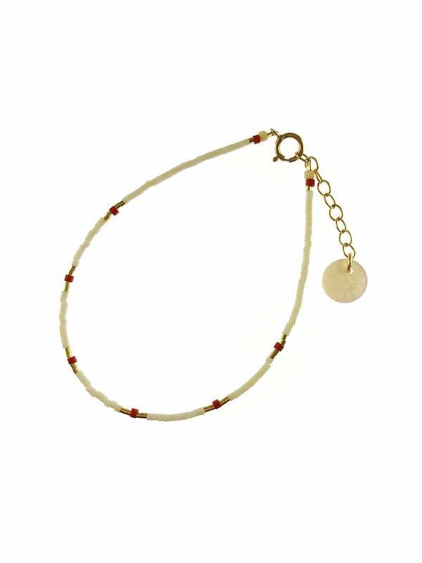 Blinckstar Bracelet Matte White And 6x Brick Beads