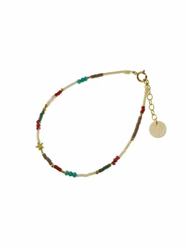Blinckstar Bracelet Mini Mix Turquoise Hematite Star Shell Brick, Green