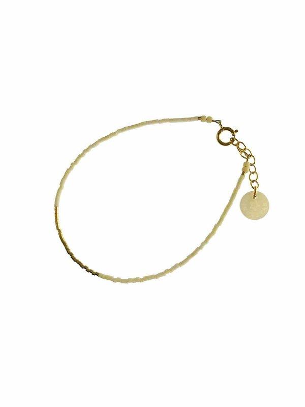 Blinckstar Bracelet Line of Matte White Mini Beads