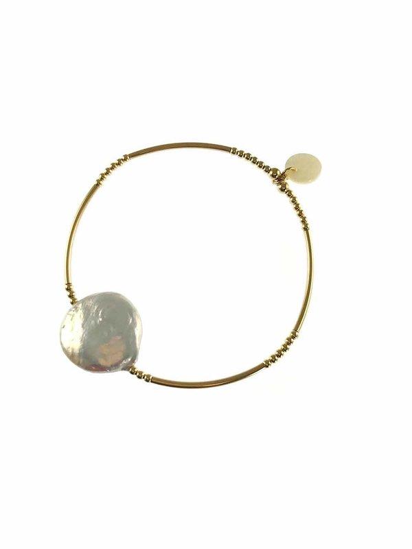 Blinckstar Bracelet Tube Balls XXL Freshwater Pearl Coin