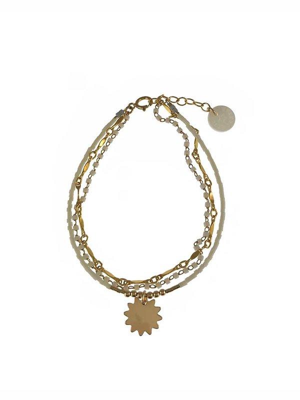 Blinckstar Bracelet 3 Row White Chain Matte White Mini Beads Starry