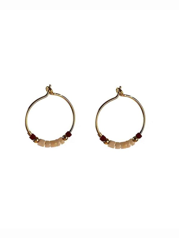 Blinckstar Earring Mini Hoop Pinkish Shell Dark Red Mini Beads