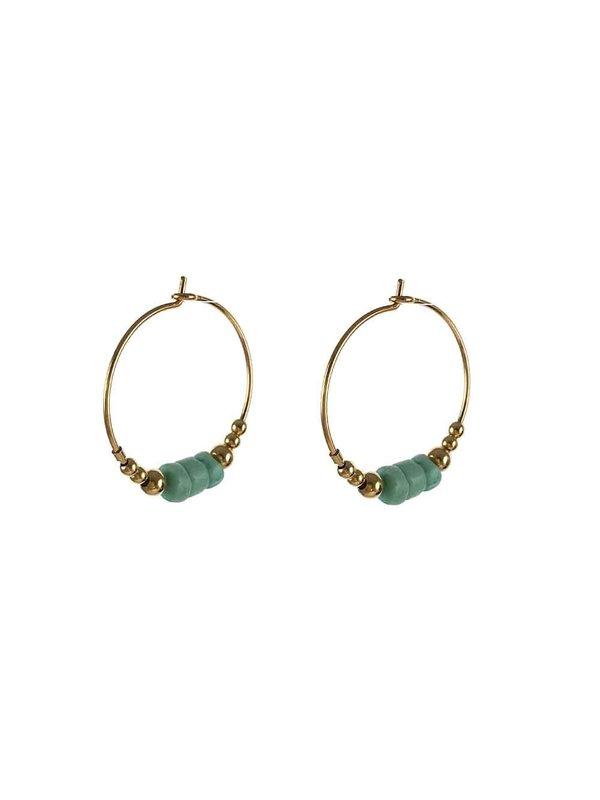 Blinckstar Earring 20mm Hoop Turquoise Howlite Wheels