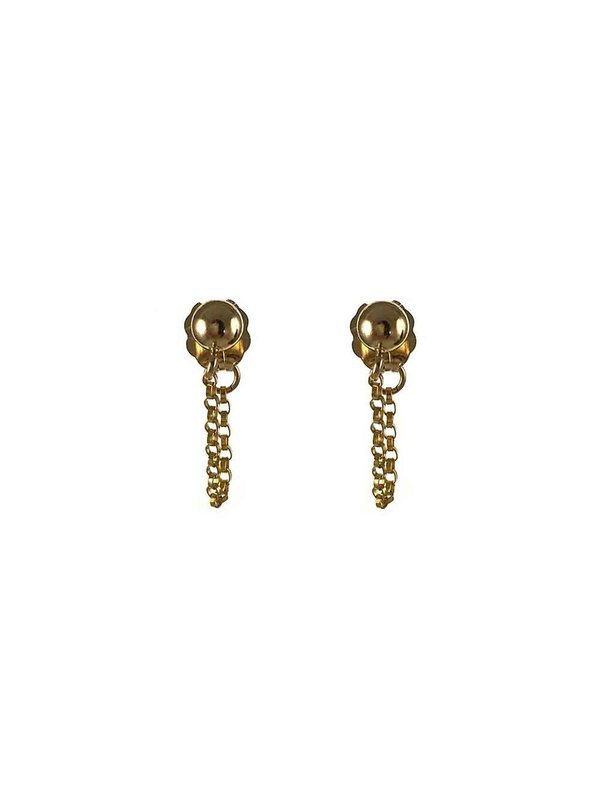 Blinckstar Earring 4mm Stud Ball Chain Attatched to Earnut