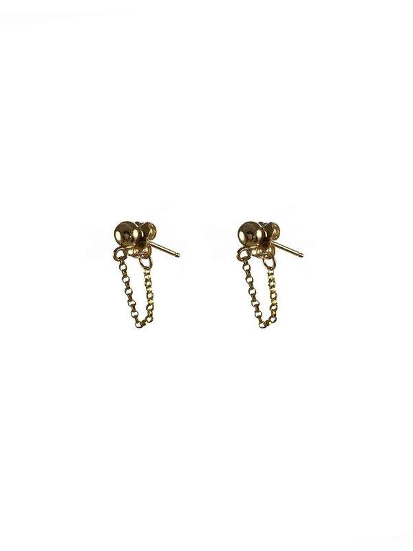 Blinckstar Earring 4mm Stud Ball Chain Attatched to Earnut