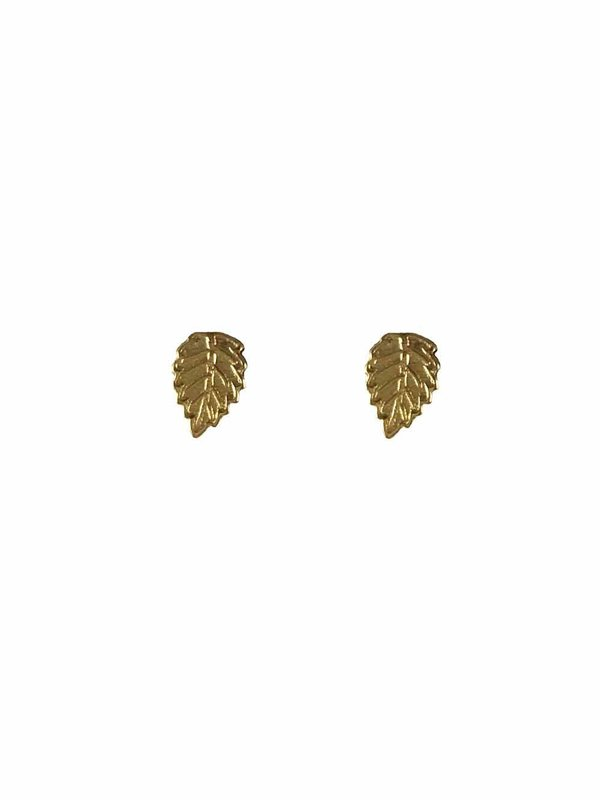 Blinckstar Earring Stud Mini Leaf Gold