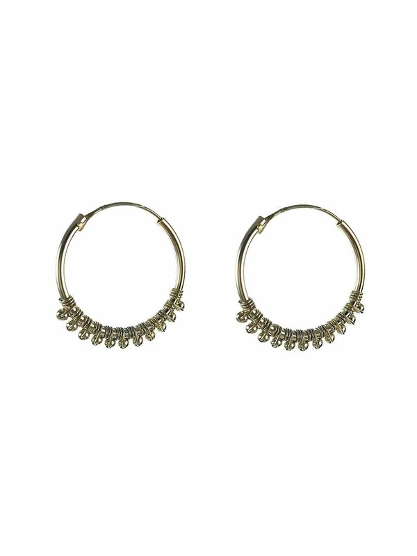 Earring Endless Hoop 22 mm with Balls Silver