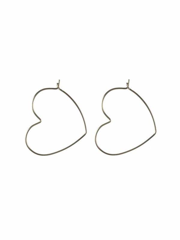 Blinckstar Earring Heart Wire Hoop M Silver