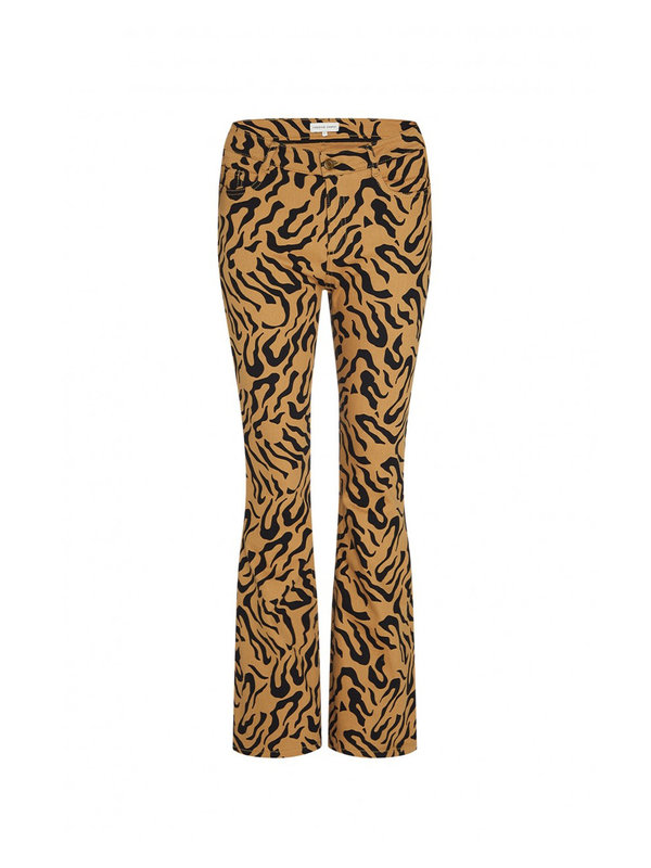 Fabienne Chapot Eva Flare Trouser Toffee Brown/Black Tiger Dot