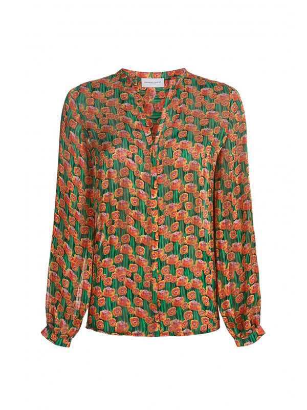 Frida Lou Blouse Cactus Green/Pumpkin Dutch Flowers