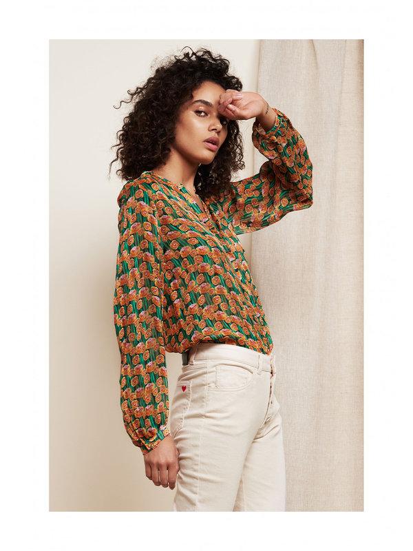 Fabienne Chapot Frida Lou Blouse Cactus Green/Pumpkin Dutch Flowers
