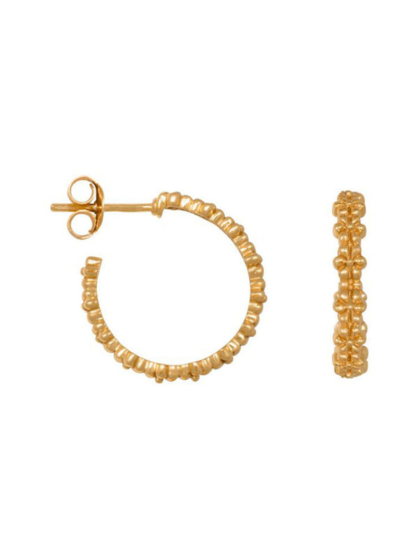 Eline Rosina Floral Hoops In Gold Plated