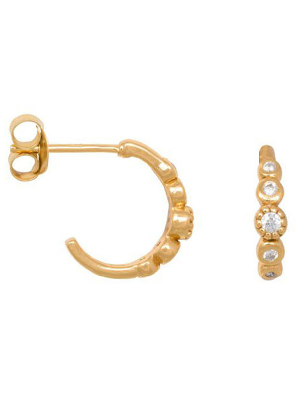 Eline Rosina Five Stoned White Zirconia Hoops In Gold Plated