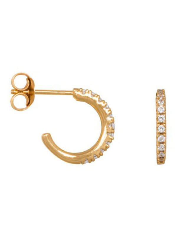 Eline Rosina Medium Zirconia Hoops In Gold Plated