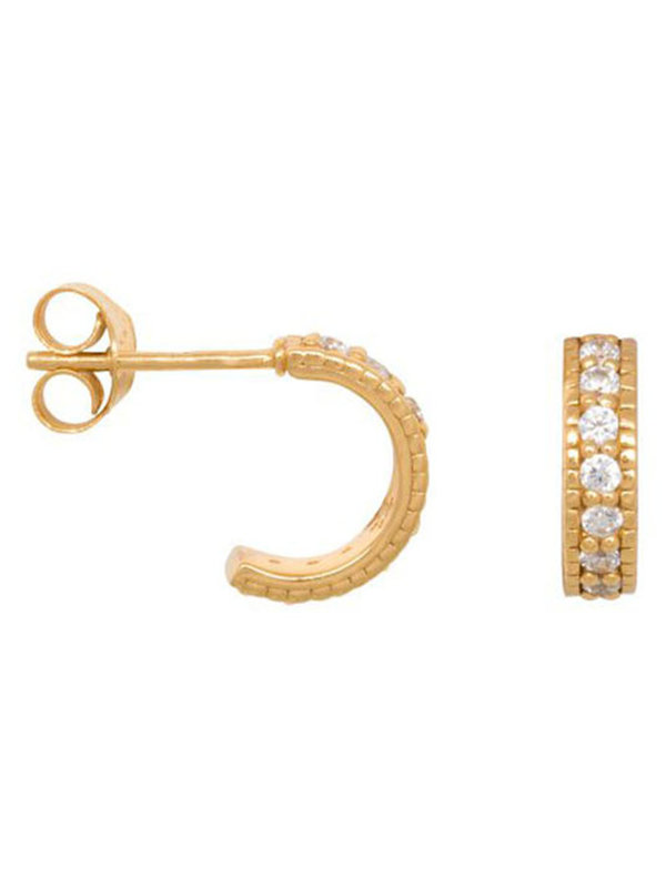 Eline Rosina Chunky Zirconia Hoops In Goldplated