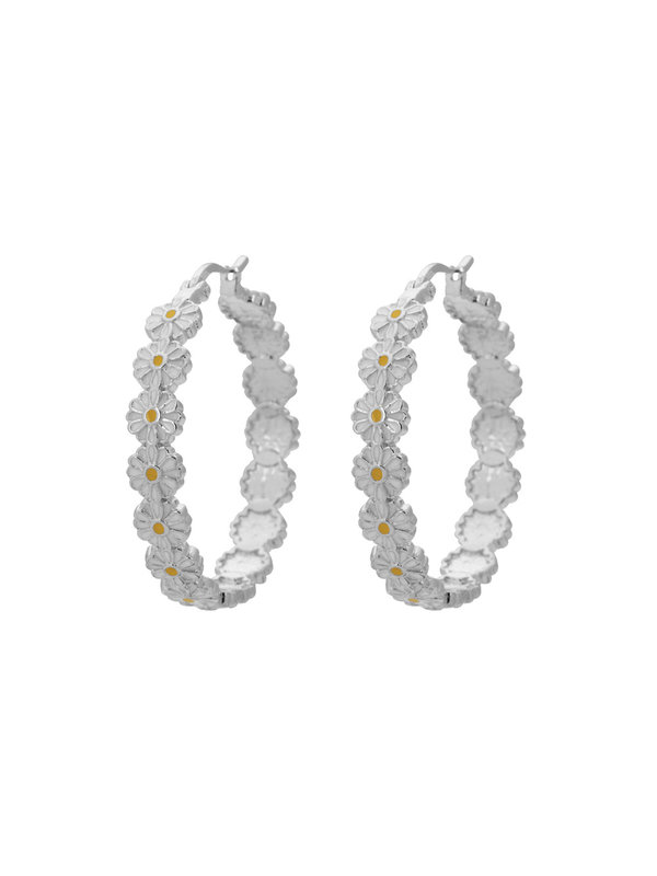 Anna + Nina Daisy Coloured Hoop Earrings Silver