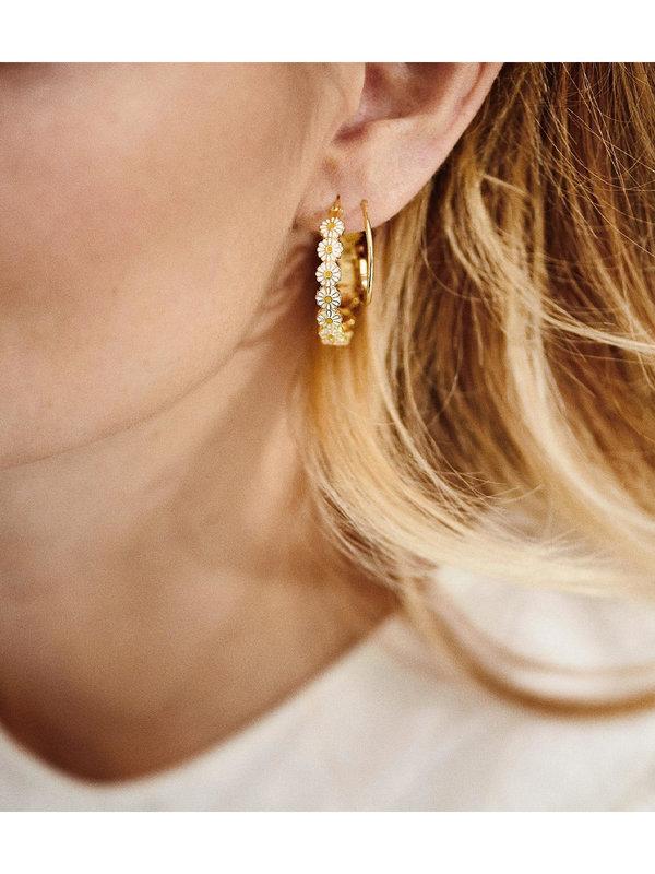 Anna + Nina Daisy Coloured Hoop Earrings Gold