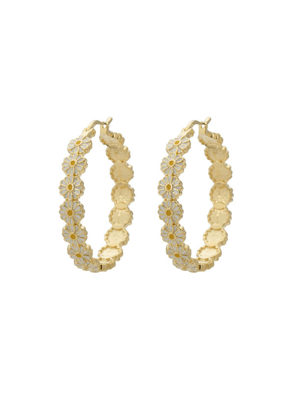 Anna + Nina Daisy Coloured Hoop Earrings Gold