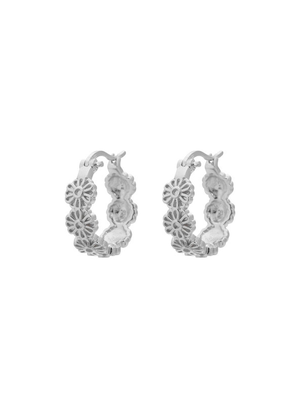 Anna + Nina Daisy Plain Ring Earrings Silver