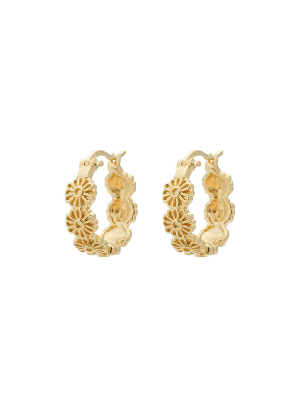 Anna + Nina Daisy Plain Ring Earrings Gold