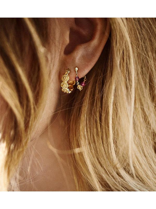 Anna + Nina Daisy Plain Ring Earrings Gold